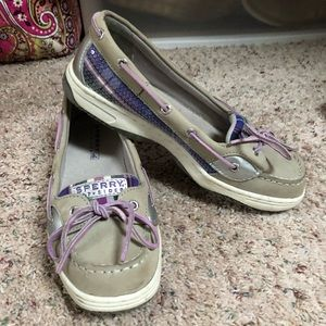 Sperry purple plaid sequin boat shoes